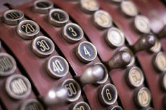 Old cash register closeup - numbers macro Stock Photography