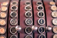 Old cash register closeup - numbers macro Stock Images