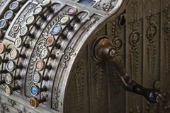 The old cash register National 1905 of the year was shot. Close-up royalty free stock image
