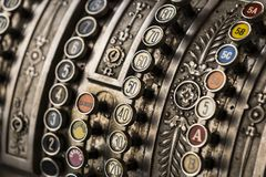 The old cash register National 1905 of the year was shot. Close-up royalty free stock photography