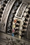 The old cash register National 1905 of the year was shot. Close-up stock photo