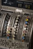 The old cash register National 1905 of the year was shot. Close-up stock photos