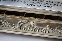 The old cash register National 1905 of the year was shot. Close-up stock photography