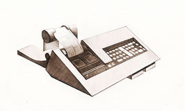 Cash register, graphic design. Vintage cash register receipt tape with, hand drawn graphic design Stock Photo