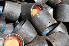 Old Casing Protectors After Use. Equipment For Oilfield Stock Image