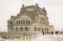 Old Casino, Constanta. The first snowfall over old Casino, on the shore at the Black Sea, in Constanta, Romania stock photos