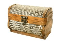 Old casket from birch bark. Isolated on the white background Royalty Free Stock Photos