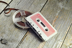 Old cassete and tape Royalty Free Stock Photos