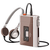 Old cassette music player with wired headphones Stock Photo