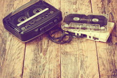 Old cassette player, audio cassette Stock Images