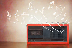 Old cassette player with a sounding music Royalty Free Stock Photography