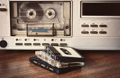 Old cassette recorder. Stands on a table Royalty Free Stock Photos