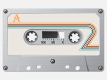 Old cassette with striped retro label Royalty Free Stock Photos