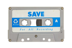 Old cassette tape. Isolated on white background royalty free stock photos