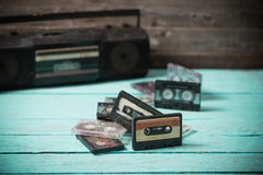 Old cassette tape and player o Royalty Free Stock Photos