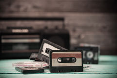 Old cassette tape and player Royalty Free Stock Image