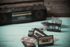 Old cassette tape and player Royalty Free Stock Photography