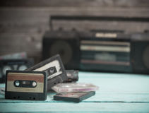 Old cassette tape and player Stock Photography