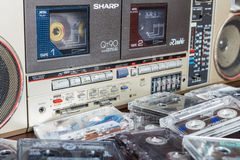 Old cassette tape recorder with cassettes. Stock Photos