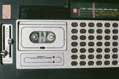 Old cassette tape recorder. top view. Stock Image