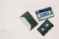Old cassette tape recorder. top view. Stock Images
