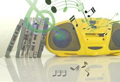 Old cassette tapes and cassette player and sound music note royalty free stock photos