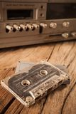 Old cassette tapes and cassette player Royalty Free Stock Images