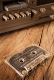 Old cassette tapes and cassette player stock image
