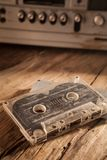 Old cassette tapes and cassette player Royalty Free Stock Image