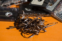 Old cassette tapes on colored background Royalty Free Stock Photography