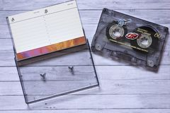 Old cassette tapes. With a wooden background stock photos