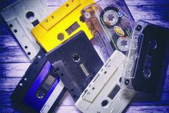 Old cassette tapes Royalty Free Stock Image
