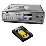 Old cassette video player and videocassette Royalty Free Stock Image