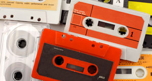 Old cassettes. Collection of old music cassettes Stock Photography