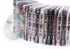 Old cassettes and cd disk Stock Images