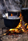 Old cast iron boiling water Stock Photography