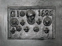 Old Cast Iron Fireplace Back Plate. Stock Photography