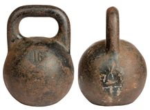 Old cast iron kettlebell 16 kg Stock Photos