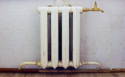 Old cast-iron radiator. Royalty Free Stock Images