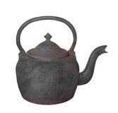 Old cast iron teapot isolated. Old and rusted black cast iron teapot.  Isolated on white Stock Photography