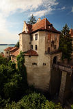 Old castle. Old medieval German castle with a bridge facing a lake Stock Photography