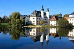 Old castle. Magical old castle and lake in germany stock photo