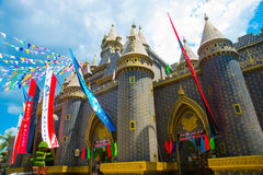 The old castle at an amusement Park. The beautiful castle of Harry Potter. stock photography