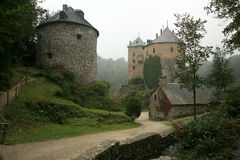 Old castle in Ardennes Mountain - Belgium. stock photo