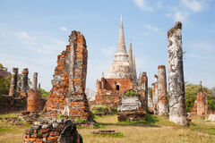 Old castle in Ayutthaya Thailand. Buddhist Temple Royalty Free Stock Photos