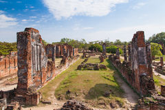 Old castle in Ayutthaya Thailand. Buddhist Temple Royalty Free Stock Photography