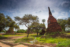 Old castle in Ayutthaya Thailand with blue sky. Buddhist Temple Royalty Free Stock Photos