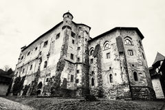 Old castle in Banska Stiavnica, Slovak republic, black and white Royalty Free Stock Photo