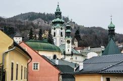Old castle in Banska Stiavnica, Slovakia, religious architecture Stock Photo
