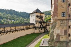 Old Castle in Banska Stiavnica, Slovakia. Tower and walls of Old Castle in Banska Stiavnica, Slovakia. UNESCO World Heritage Site stock photo